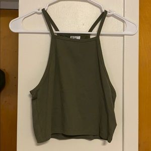 Army Green Cropped Tank Top